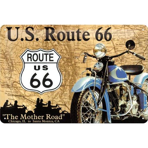 Targa in metalo 20 x 30 cm - Route 66 Map