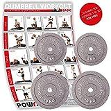 POWRX Hantelscheiben Set | Verschiedene Gewichtsvarianten 5-40 kg | Gusseisen Gewichte | 30 mm Bohrung (2 x 10 kg + 2 x 5 kg)