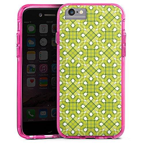 Apple iPhone 6s Bumper Hülle Bumper Case Glitzer Hülle Viereck Green Pattern Bumper Case transparent pink