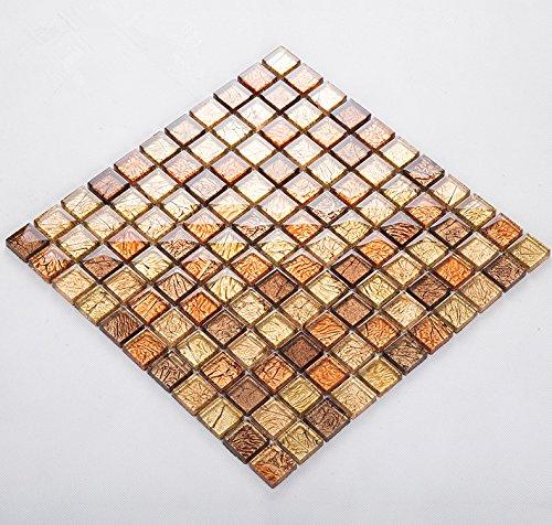 Goldfolie Glas Mosaik Fliesen, strahlende Wohnkultur Fliesen, wasserdichte moderne Küche Backsplash Fliesen, Mesh elegante Wandmosaik montiert. Kostenloser Versand, LSJB01 (300x300mm/Stück) -