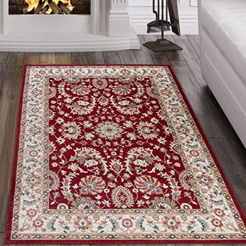 Tapiso dubai tappeto salotto orientale colore rosso crema bordatura disegno tradizionale persiano facile da pulire 80 x 150 cm