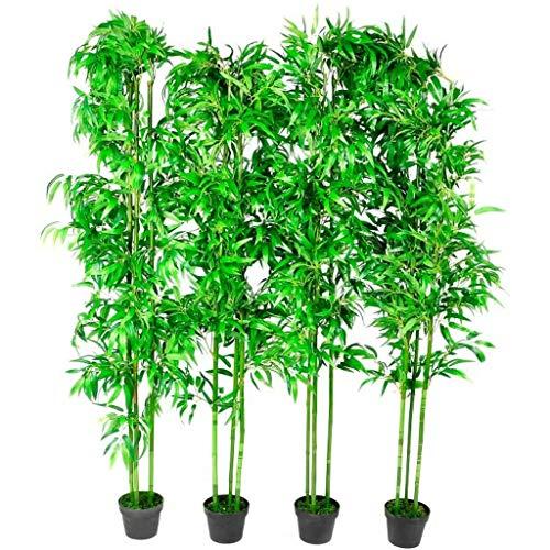 FesjoySet di 4 Piante Artificiali di bambù, Piante Ornamentali per la casa, Ufficio, Lobby 190 cm