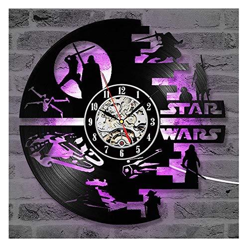 OLDFAI Reloj De Pared Reloj De Disco De Vinilo, LED Joint Familia Familiar Star Wars Reloj Diseño 3D...