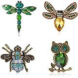 nobrand 4 Piezas Conjunto de Broche de Mujer Broches de Animales, Broches de Esmalte Insecto Animal Pin de Aleación de Abeja