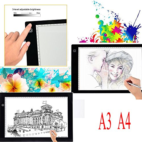 A3 A4 LED Grafiktablett Lightbox Touchpad Bleistift Skizze Animation (A3) (Wireless Bamboo Touchpad)