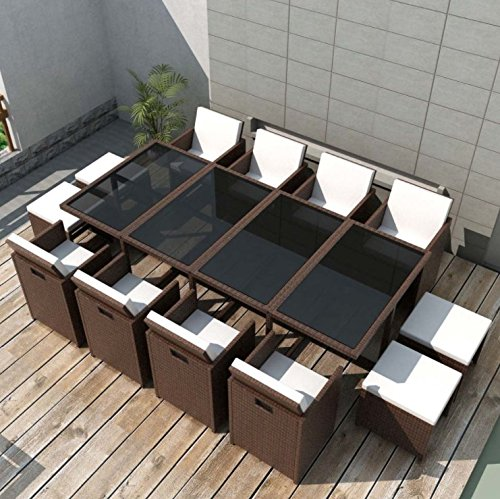 Large Rattan Dining Set Outdoor Garden Furniture Black Brown Glass Table XL 12 Seater Modern Conservatory Deck Cushions 33 Pcs 4 Small Wicker Stools 8 Seating Chairs Outside Rectangular Patio Backyard (Brown)