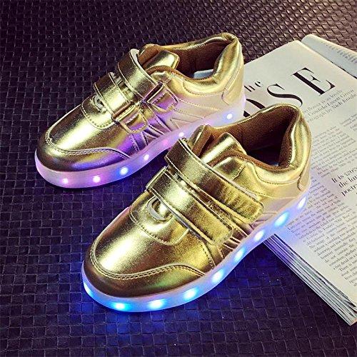 [+ Toalha Pequena] Sapatos Da Moda Coreano, Led Emissores De Luz Luzes Piscando Sapatos De Velcro Para O Sexo Masculino E Feminino C1