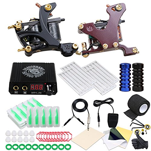 Dragonhawk Tattoo Kit 2 machines Coil Machine Kit Power Supply Disposable Needles XQT-1