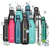 Amazon Brand - Umi Borraccia Termica, 500 ml Bottiglia Acqua in Acciaio Inox, Senza BPA, 24 Ore Freddo & 12 Caldo, Borracce p