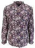 Picture Of Lambretta Retro 100% Cotton Button Down Purple/Mint Paisley Print Shirt