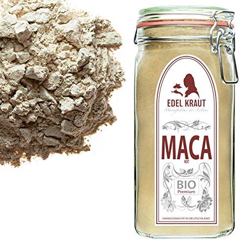 EDEL KRAUT | BIO ROTES MACA PULVER Premium Superfood 100% MACAWURZEL ROT IM GLAS 750g -