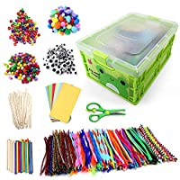 N&T NIETING 1212 Pcs Kids Art Craft Supplies Assortment Set for DIY Craft Projecties with Pipe Cleaners, Pony Beads, Pom Poms, Papers, Craft Scissors, Folding Storage Box and more