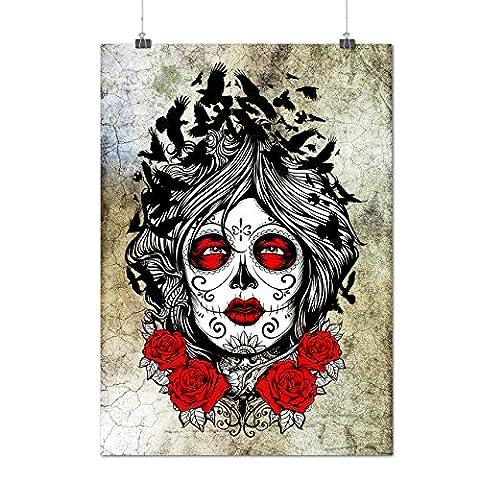Gesicht Mädchen Rose Kunst Horror Mattes/Glänzende Plakat A3 (42cm x 30cm) | Wellcoda