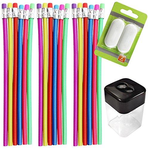 com-four 18er Set Biegsamer Zauber Bleistift mit Glitzereffekt + 2 Stk. Radiergummi und 1 Stk. Anspitzer, Ideal für Kinder, mit Härtegrad 2B (Biegsamer Bleistift)