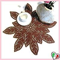 Braune Deckchen mit Blättern häkeln aus Baumwolle - Größe: ø 43 cm - Handmade - ITALY