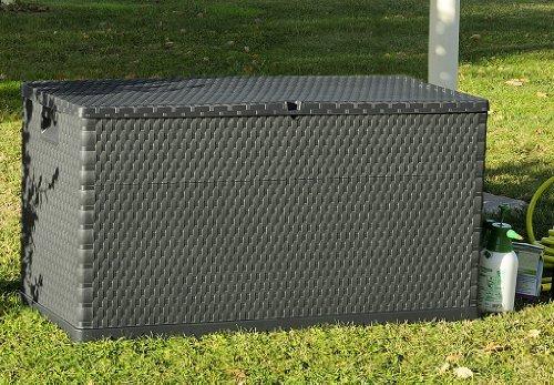 Baule bauli cassapanca da giardino ffetto rattan antracite 120x57x63h - Cassapanca plastica da esterno ...