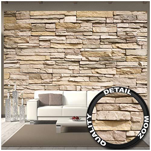 Great Art Fototapete - Steinoptik - 3D Wandbild Dekoration Stein-Tapete Mauer Wandverkleidung Steinwand Schiefer Sandstein Steinmauer Stonewall Wandtapete (336 x 238cm)