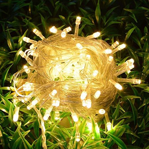 110 V 220 V 10 M undurchlässig im Freiluft-Garten, Lampe mit Leuchtstoffreserven Weihnachten und Weihnachten (Couleur d'émission : Warm white-EU 220V) -