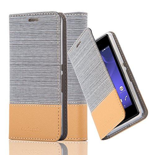 Cadorabo Hülle für Sony Xperia E3 - Hülle in HELL GRAU BRAUN – Handyhülle mit Standfunktion und Kartenfach im Stoff Design - Case Cover Schutzhülle Etui Tasche Book