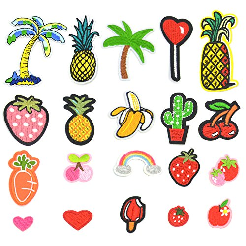 ln, Satkago 24 Stück Früchte Flicken Zum Aufbügeln Kinder Applikation Zum Aufbügeln DIY Bügel Patches Set für Kleidung T-Shirt Jeans Taschen Hut (Kostüm-verzierungen)
