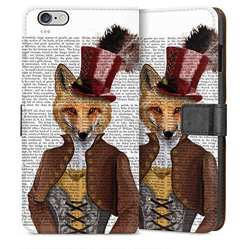 """artboxONE Handyhülle Apple iPhone 6, schwarz Hard-Case Handyhülle """"Fürst Fuchs Case"""" - Tiere - Smartphone Case mit Kunstdruck hochwertiges Handycover von FabFunky Sideflip Case weiß"""