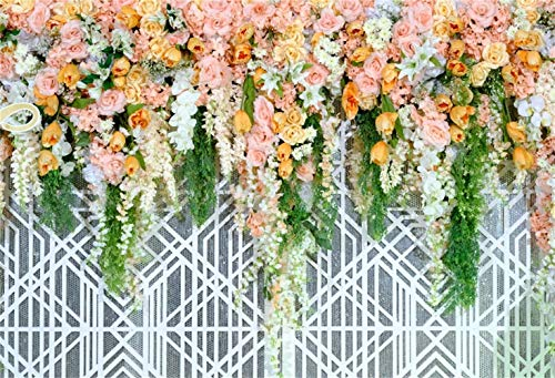 vrupi Graceful Floral Trellis Wall Backdrop 7x5ft Vinyl Beautiful Orange Flowers Wedding Ceremony Photo Booth Background Wedding Celebration Party Banner Bridal Shower Bride Groom Shoot -