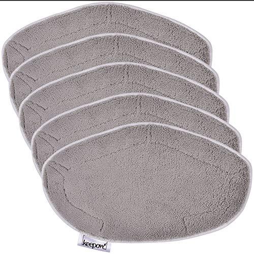 Keepow kit 5 panni polti vaporetto paeu0332 per spazzola vaporforce, utilizzato per pavimenti in legno e pavimenti bagnati, grigio