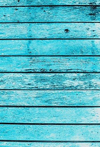 Distressed Holzböden (YongFoto 1x1,5m Vinyl Foto Hintergrund Holzoptic Distressed Holz Vintage HolzHolz Brett Der Blauen Farbe Fotografie Hintergrund für Photo Booth Baby Party Banner Kinder Fotostudio Requisiten)