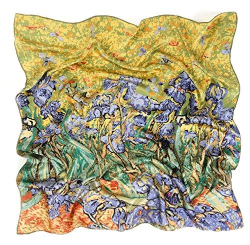 Prettystern p995-90cm stampa pura seta instile art sciarpa di seta - van gogh - iris