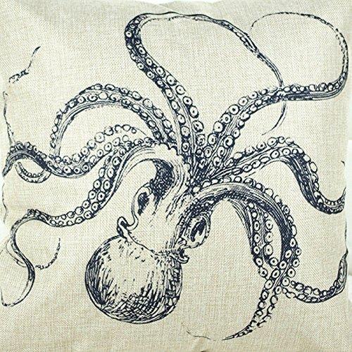 Leinenbaumwoll Kissenbezüge 45cm x 45cm in verschiedene Muster (Krake) - 2