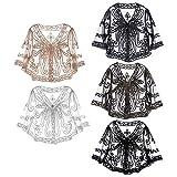 Freebily Damen Spitze Gardigen in Schwarz - Stickerei Jacke Blumen Elegant Bluse aus Spitze - Scheer Dünne Jäckchen zum Kleid mit Langarm