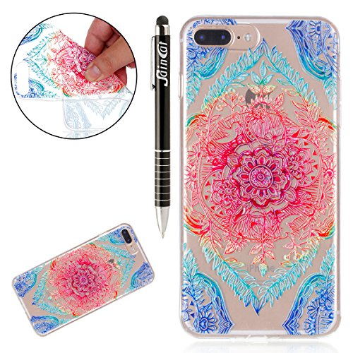 Custodia iPhone 7 Plus, iPhone 7 Plus Cover Silicone Trasparente, SainCat Cover per iPhone 7/8 Plus Custodia Silicone Morbido, Shock-Absorption Custodia Ultra Slim Transparent Silicone Case Ultra Sott Fiori di Pizzo