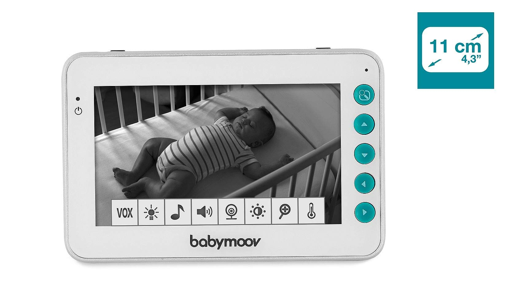 Babymoov YOO Moov Motorised Video Baby Monitor BABYMOOV Includes 2 usb cables (plugs not supplied): adapters are replaced by longer usb cables (2.5 m). they are compatible with all 5v usb plugs, reusable on several devices 360° view: the YOO Moov camera tilts from front to back and right to left. easy to control via the screen (parent unit) Innovative: the motor hidden inside the foot of the camera is very efficient and silent. The camera quietly changes direction. its movements are smooth, not jerky 4