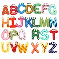Geshiglobal 26 Alphabet Magnetic Letters A-Z Wooden Fridge Magnets Kids Kid Education Toys