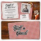 Einladungskarten zum Geburtstag (50 Stück) Hüttengaudi mit eigenem Foto Rot Oktoberfest