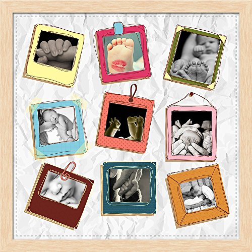 ArtzFolio AZ Hanging Clips Photo Collage Natural Brown Wood Frame Personalised Gift 16 x 16inch