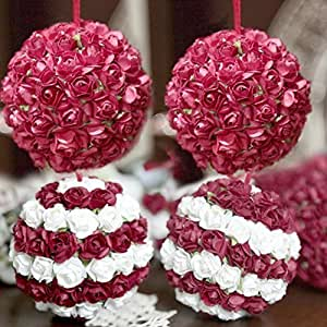 Palline di Natale fatte a mano con fiori bianchi e rossi decorazione addobbo albero di natale diametro 8 cm