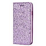 MoreChioce kompatibel mit Galaxy S7 Edge Hülle,kompatibel mit Samsung Galaxy S7 Edge Flip Wallet Case, Luxus Lila Glitzer Bling Strass Kunstleder Klapphülle Flip Case Protective Brieftasche,EINWEG