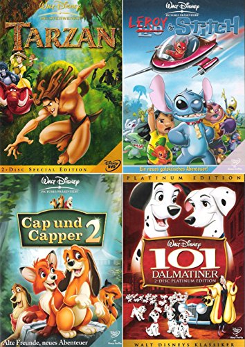 Walt Disney Collection 2 | Tarzan - Special Edition + Leroy & Stitch + Cap und Capper 2 + 101 Dalmatiner - Platinum Edition (4-DVD | 6-Disc) 101 Dalmatiner Disney Dvd