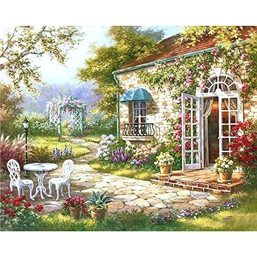 ELGDX Gartenhaus DIY Malen nach Zahlen Abstrakte Moderne Ölgemälde Home Wandkunst Dekor für...