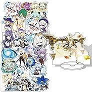 Genshin Impact Stickers 50Pcs+Genshin Impact Figure Acrylic Material Humanoid Stand 6 inches 1Pcs(Ningguang))