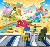selbstklebende Fototapete - Kinderbild - Dinosaurier Cartoon - Giganten der Urzeit - 100x65 cm - Tapete mit Kleber – Wandtapete – Poster – Dekoration – Wandbild – Wandposter – Wand – Fotofolie – Bild – Wandbilder - Wanddeko