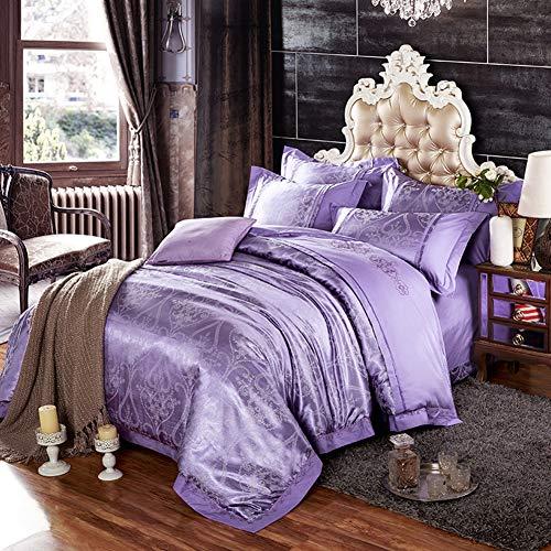 Qiongqiong set copripiumino in raso di seta jacquard di lusso, set di copripiumini quattro set completo di biancheria da letto in cotone 100% matrimoniale copripiumino federa di lino,b