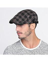 WF:sombrero de las señoras la primavera y el verano casquillo sombrero varón ocio al aire libre de la boina femenina de Corea del casquillo hacia delante de los hombres ( Color : Negro )