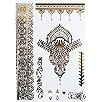 ღ Yh073 Flash Tattoo tatuaje temporal pegatinas etiquetas pulseras de oro joyas de oro etiqueta engomada de la hoja de Metal-metálico del cuerpo