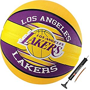 Spalding Kinder Basketball Team Ball NBA L.A. Lakers Größe 5 + Ballpumpe