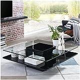 Moebella Couchtisch schwarz Hochglanz quadratisch Porto 100x100cm Glastisch Designer-Tisch