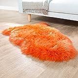 Paco Home Australisches Lammfell Naturfell Bettvorleger Echtes Schaffell In Orange, Grösse:100x68 cm