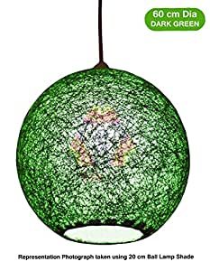 Salebrations 60 cm Dia Dark Green Hanging Ball Lamp Shade With Yarn And Led Bulb