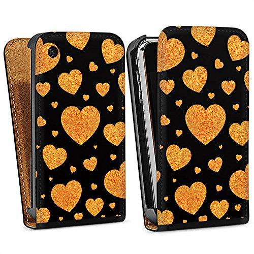 Apple iPhone 4 Housse Étui Silicone Coque Protection Amour Love Amour C½ur Sac Downflip noir